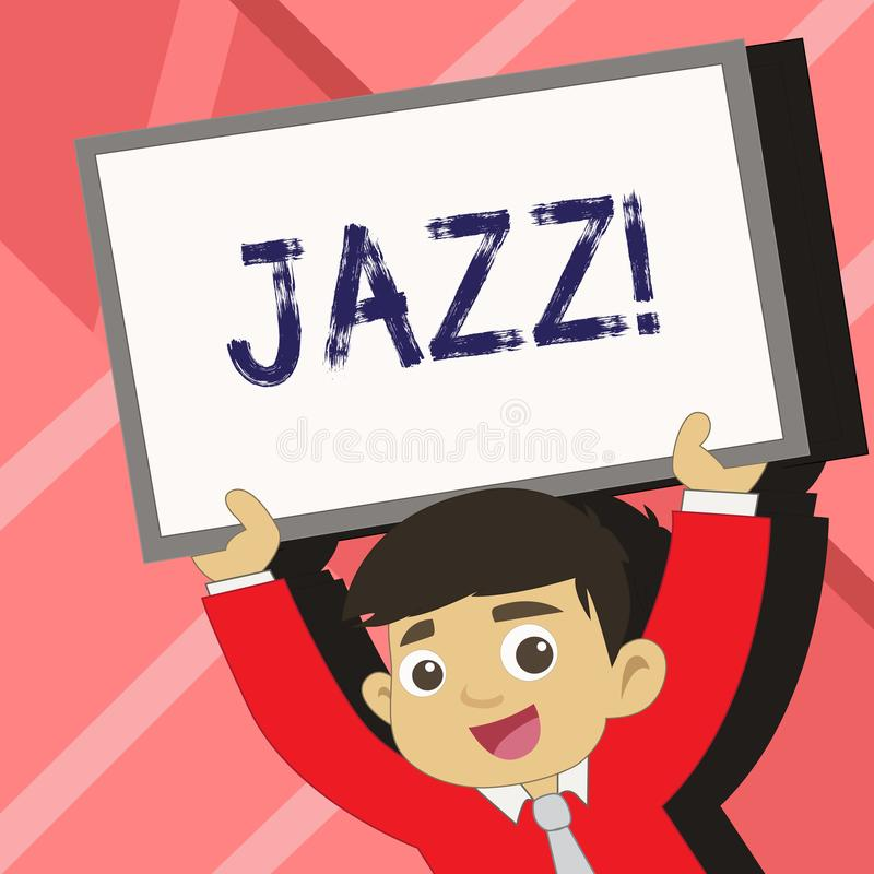 Word writing text Jazz. Business concept for Type of music of black American origin Musical genre Strong rhythm Young. Word writing text Jazz. Business photo royalty free illustration