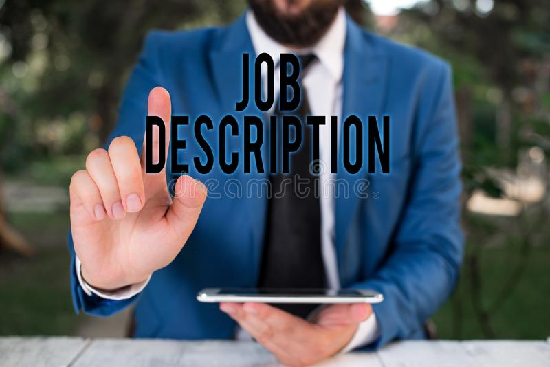 Word writing text Job Description. Business concept for a formal account of an employee s is responsibilities. Word writing text Job Description. Business photo royalty free stock photography