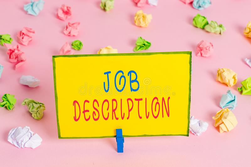 Word writing text Job Description. Business concept for a formal account of an employee s is responsibilities Colored. Word writing text Job Description royalty free stock photos