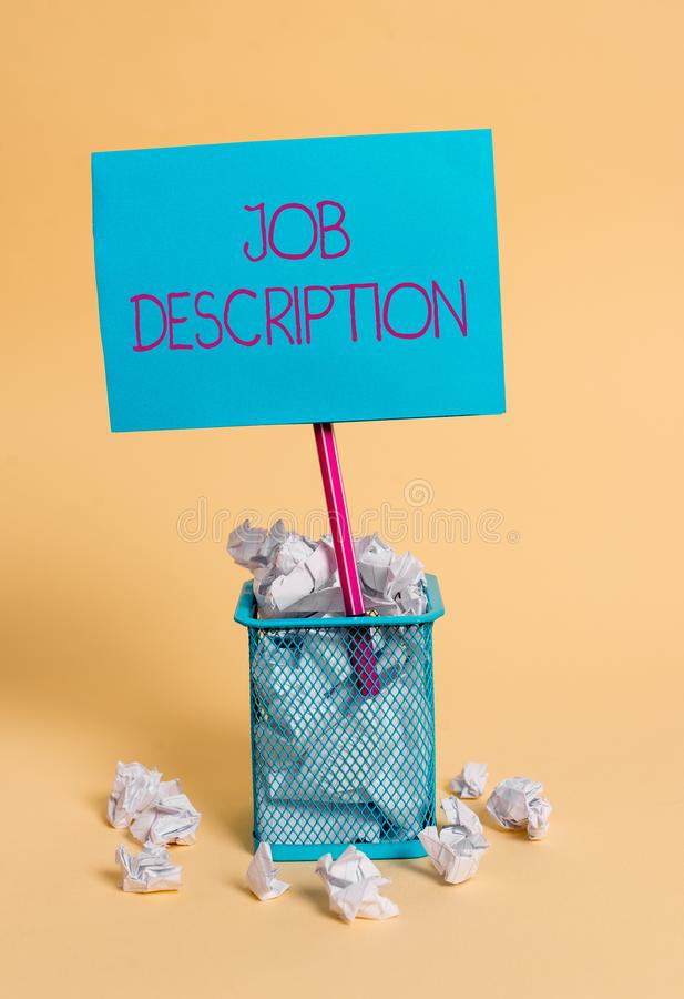 Word writing text Job Description. Business concept for a formal account of an employee s is responsibilities crumpled. Word writing text Job Description royalty free stock photos