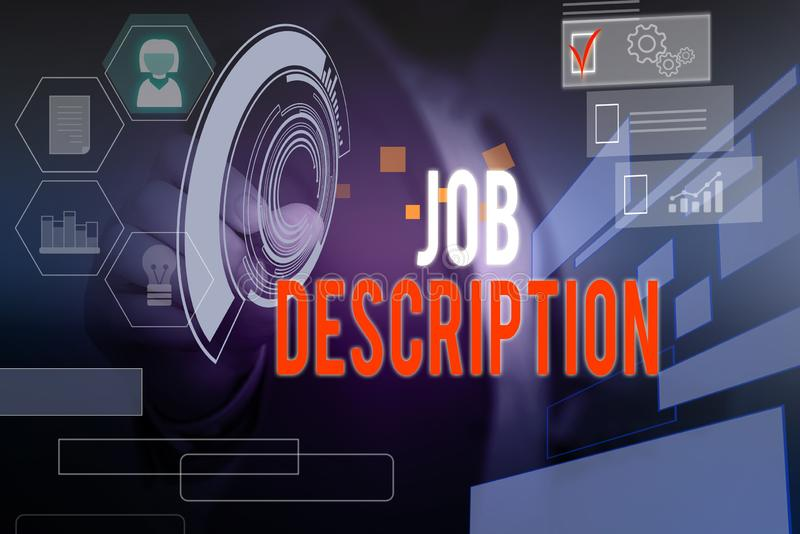 Word writing text Job Description. Business concept for a formal account of an employee s is responsibilities Male human. Word writing text Job Description stock photos