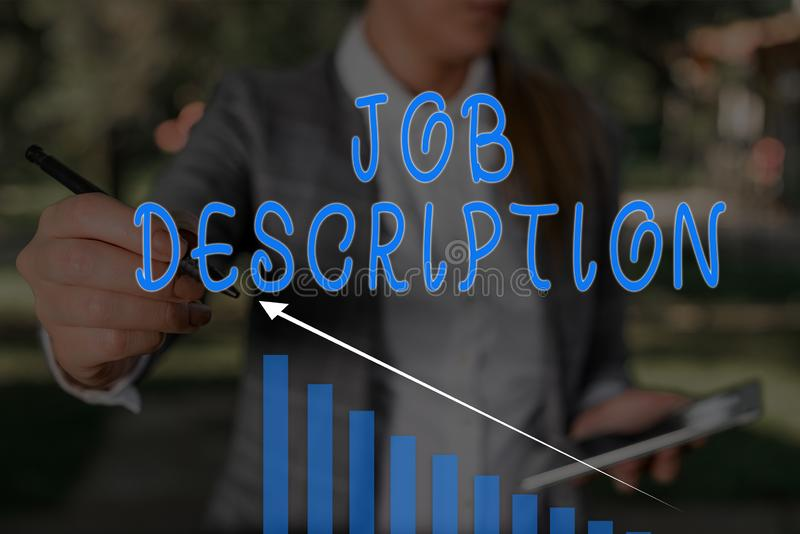 Word writing text Job Description. Business concept for a formal account of an employee s is responsibilities Woman wear. Word writing text Job Description stock image