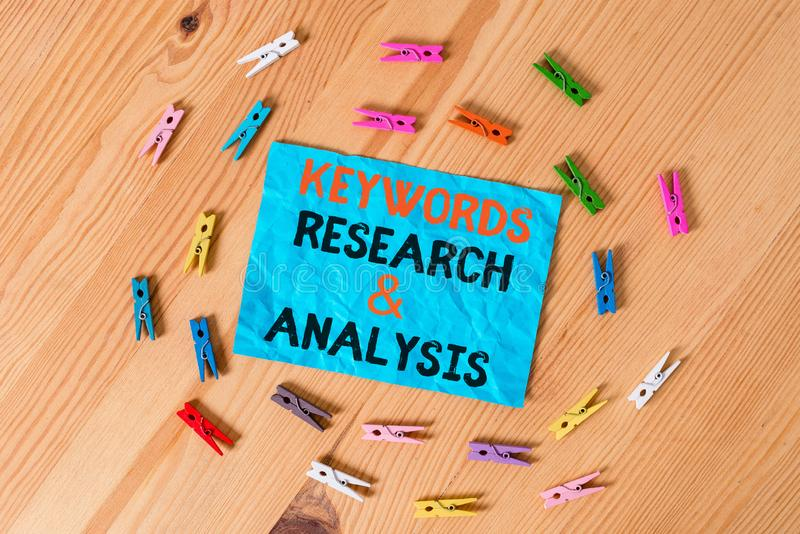 Word writing text Keywords Research And Analysis. Business concept for search for data and create tables graphs Colored. Word writing text Keywords Research And royalty free stock photos
