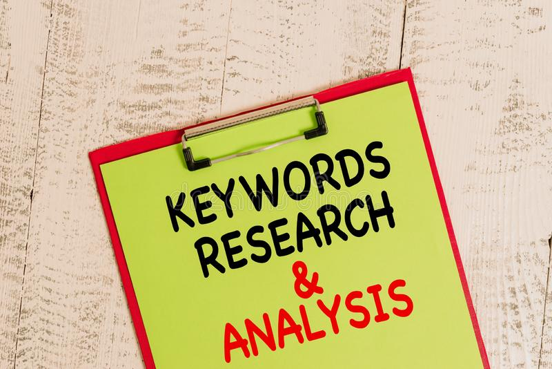 Word writing text Keywords Research And Analysis. Business concept for search for data and create tables graphs Colored. Word writing text Keywords Research And royalty free stock photo
