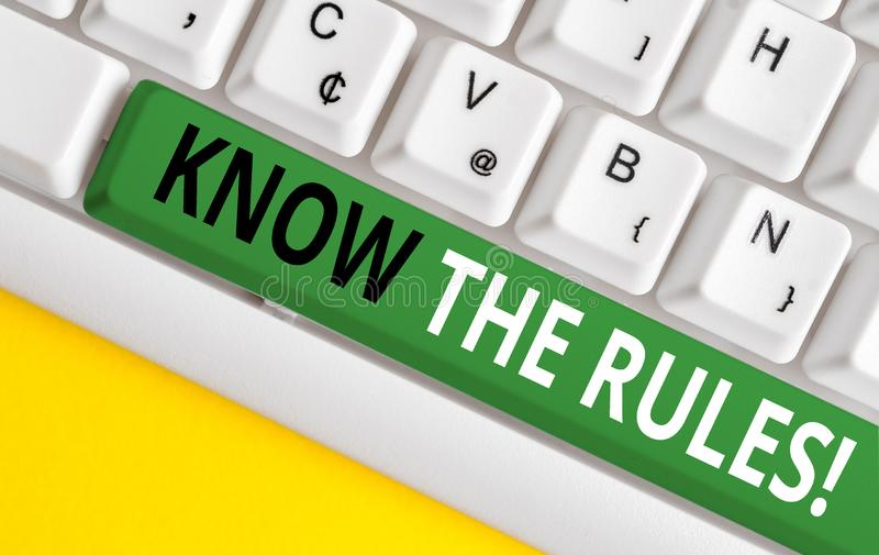 Word writing text Know The Rules. Business concept for set explicit or regulation principles governing conduct White pc. Word writing text Know The Rules stock image