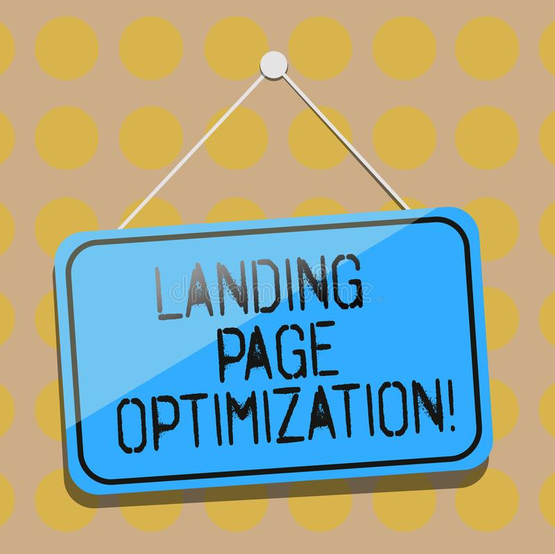Word writing text Landing Page Optimization. Business concept for Improve elements of a website to rise conversion Blank Hanging. Color Door Window Signage with royalty free illustration
