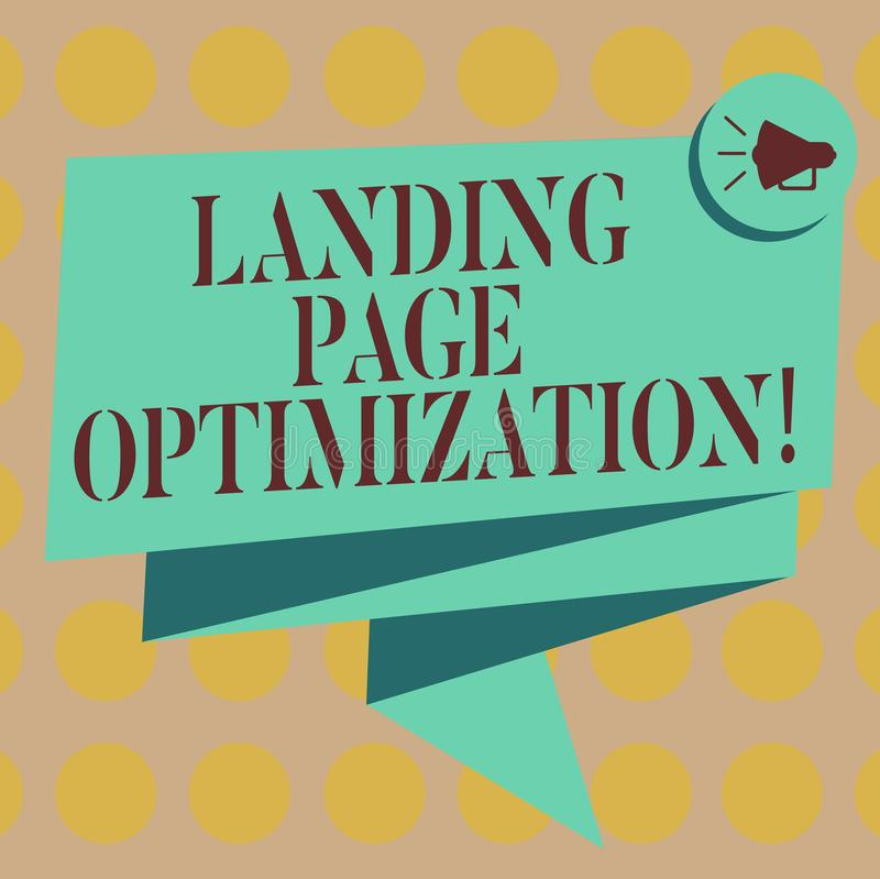 Word writing text Landing Page Optimization. Business concept for Improve elements of a website to rise conversion Folded 3D. Ribbon Sash Megaphone Speech royalty free illustration