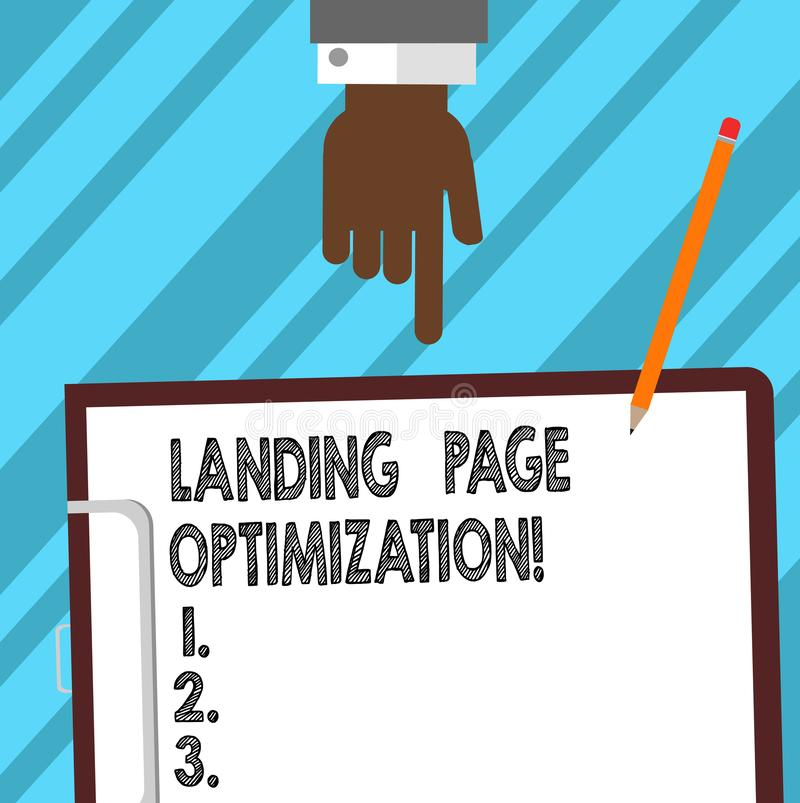 Word writing text Landing Page Optimization. Business concept for Improve elements of a website to rise conversion Hu analysis. Hand Pointing Down to Clipboard stock illustration