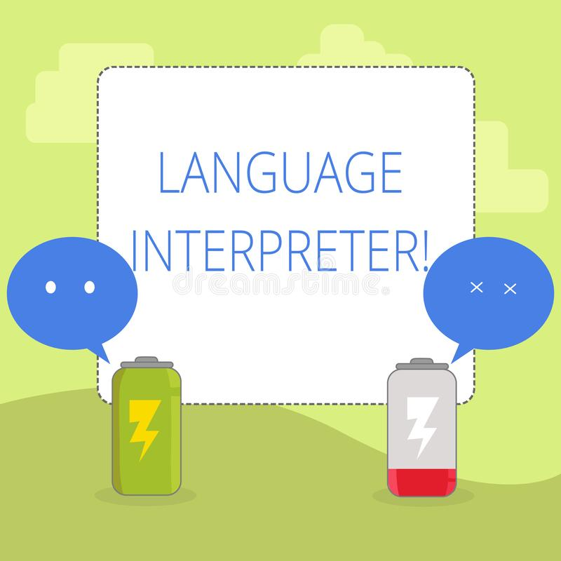 Word writing text Language Interpreter. Business concept for Convey messages between two different languages Fully. Word writing text Language Interpreter royalty free illustration