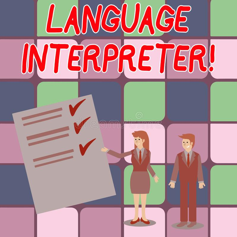 Word writing text Language Interpreter. Business concept for Convey messages between two different languages Man and. Word writing text Language Interpreter vector illustration