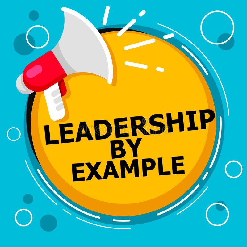 Word writing text Leadership By Example. Business concept for Becoming role model for people Have great qualities Sound speaker al. Arm hand hot issue public stock illustration