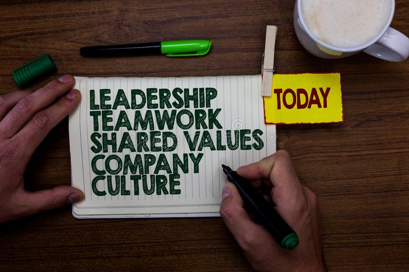 Word writing text Leadership Teamwork Shared Values Company Culture. Business concept for Group Team Success Man holding marker no. Tebook clothespin reminder royalty free stock image