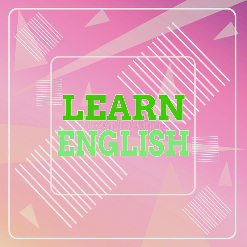 Word writing text Learn English. Business concept for Universal Language Easy Communication and Understand Geometric royalty free illustration