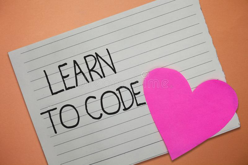 Word writing text Learn To Code. Business concept for Learn to write Software Be a Computer Programmer Coder.  stock image