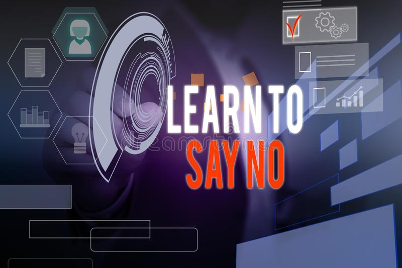 Word writing text Learn To Say No. Business concept for decline or refuse few things before you destroy yourself Male. Word writing text Learn To Say No royalty free stock images