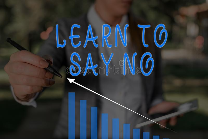 Word writing text Learn To Say No. Business concept for decline or refuse few things before you destroy yourself Woman. Word writing text Learn To Say No stock photography