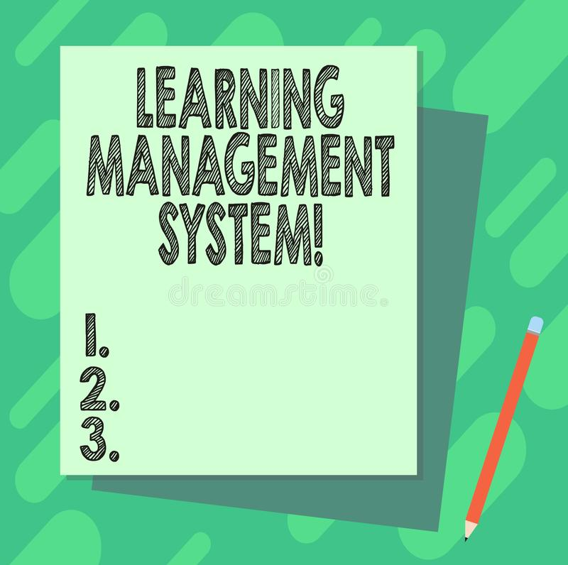 Word writing text Learning Management System. Business concept for software application that is used to administer Stack. Of Blank Different Pastel Color stock illustration