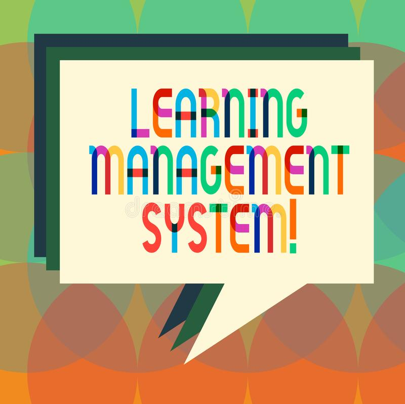 Word writing text Learning Management System. Business concept for software application that is used to administer Stack. Of Speech Bubble Different Color Blank royalty free illustration
