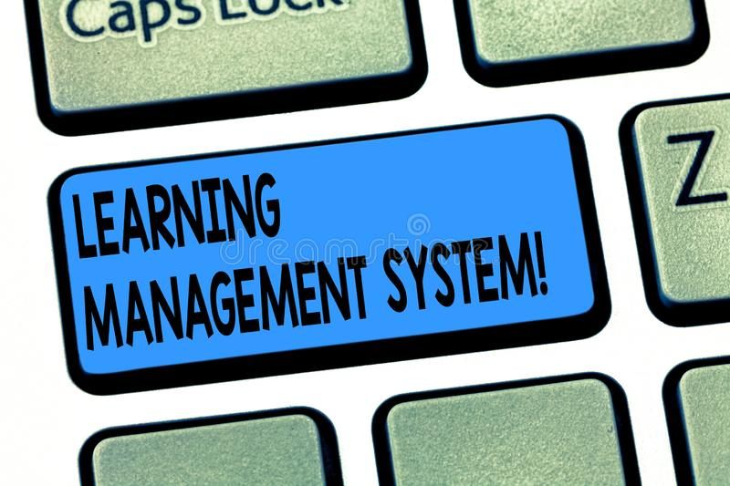 Word writing text Learning Management System. Business concept for software application that is used to administer royalty free stock image