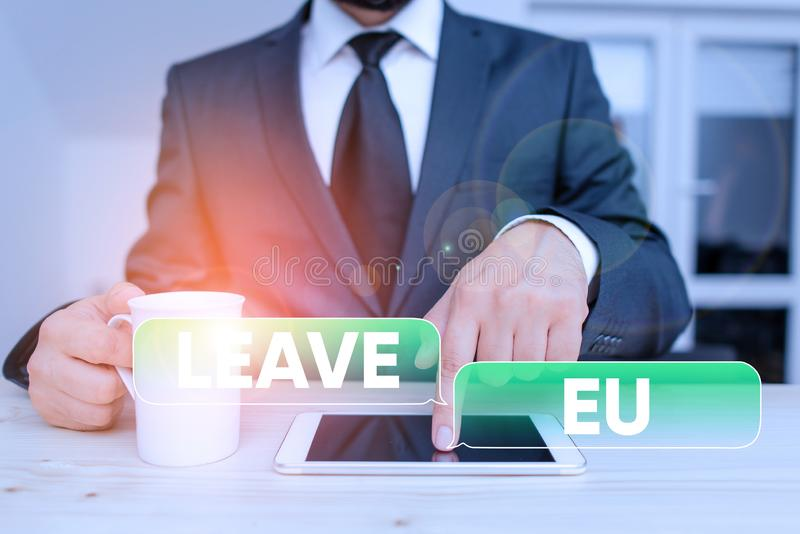 Word writing text Leave Eu. Business concept for An act of a demonstrating to leave a country that belongs to Europe. Word writing text Leave Eu. Business photo royalty free stock photo