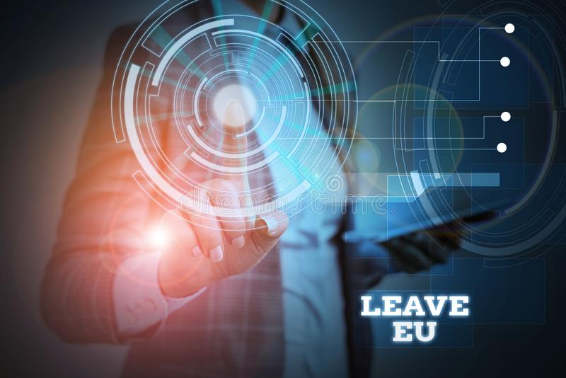 Word writing text Leave Eu. Business concept for An act of a demonstrating to leave a country that belongs to Europe. Word writing text Leave Eu. Business photo stock image