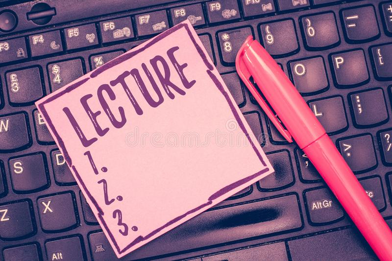 Word writing text Lecture. Business concept for Educational talk to students audience Long speech for teaching.  stock images