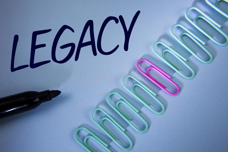 Word writing text Legacy. Business concept for Transmitted Received from an ancestor Money Properties given by will written on Pla. Word writing text Legacy royalty free stock photography