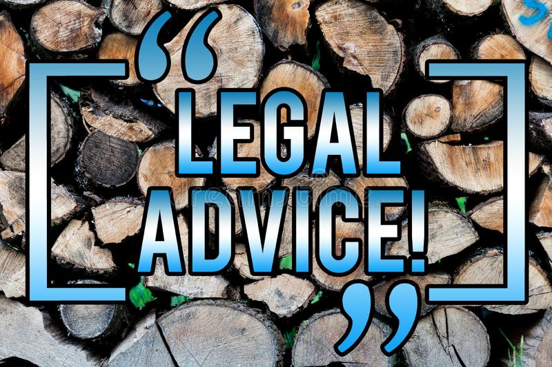Word writing text Legal Advice. Business concept for Recommendations given by lawyer or law consultant expert Wooden background. Vintage wood wild message ideas stock image