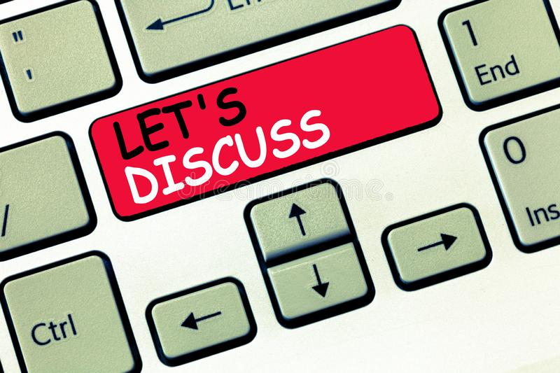 Word writing text Let s is Discuss. Business concept for Permit to Talk Open Up Go Over a Topic Chat Sharing.  stock image