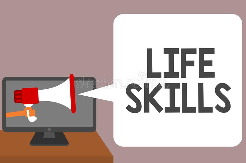 Word writing text Life Skills. Business concept for that is necessary or desirable full participation in everyday Man holding Mega. Phone loudspeaker computer vector illustration