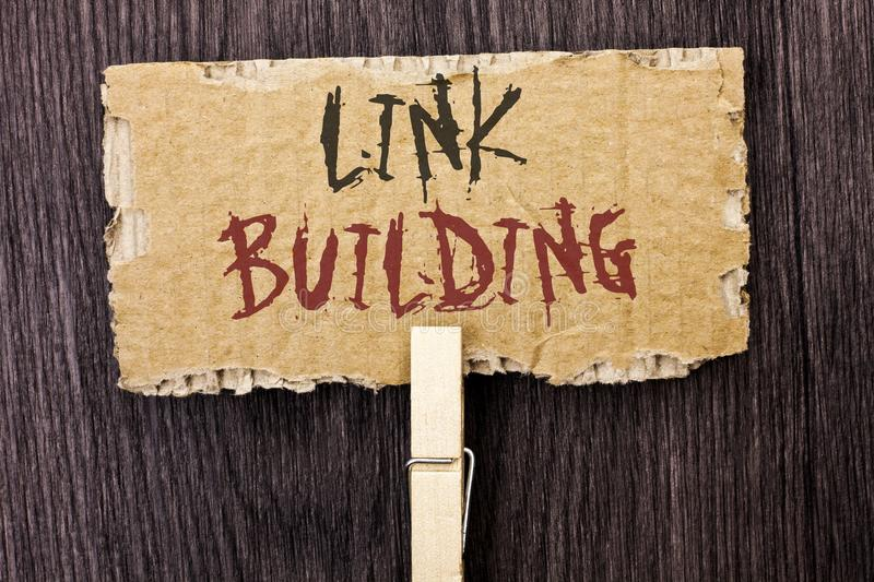 Word writing text Link Building. Business concept for Process of acquiring hyperlinks from other websites Connection written on Ca. Word writing text Link royalty free stock image