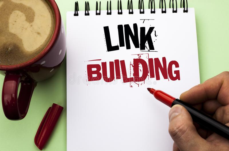 Word writing text Link Building. Business concept for Process of acquiring hyperlinks from other websites Connection written by Ma. N Notebook Book Holding stock photos