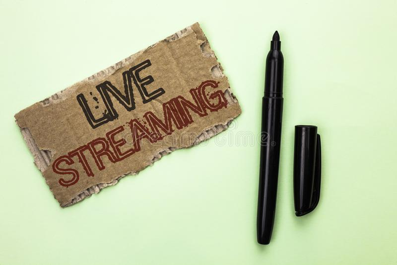 Word writing text Live Streaming. Business concept for Media real-time transmission Multimedia Technology Broadcast written on Tea royalty free stock photography