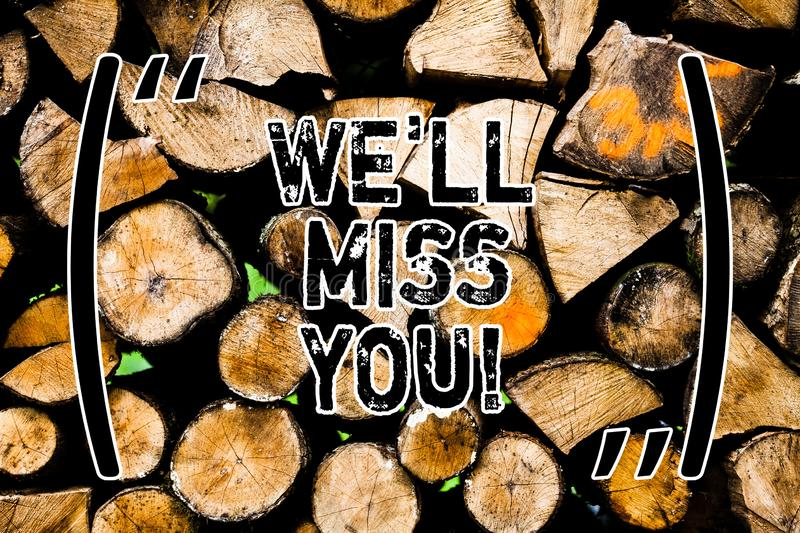 Word writing text We Ll Miss You. Business concept for Going to feel sad because you are leaving loving message Wooden. Background vintage wood wild message stock image