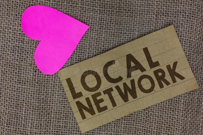 Word writing text Local Network. Business concept for Intranet LAN Radio Waves DSL Boradband Switch Connection Piece squared paper. Board paper heart jute royalty free stock photography