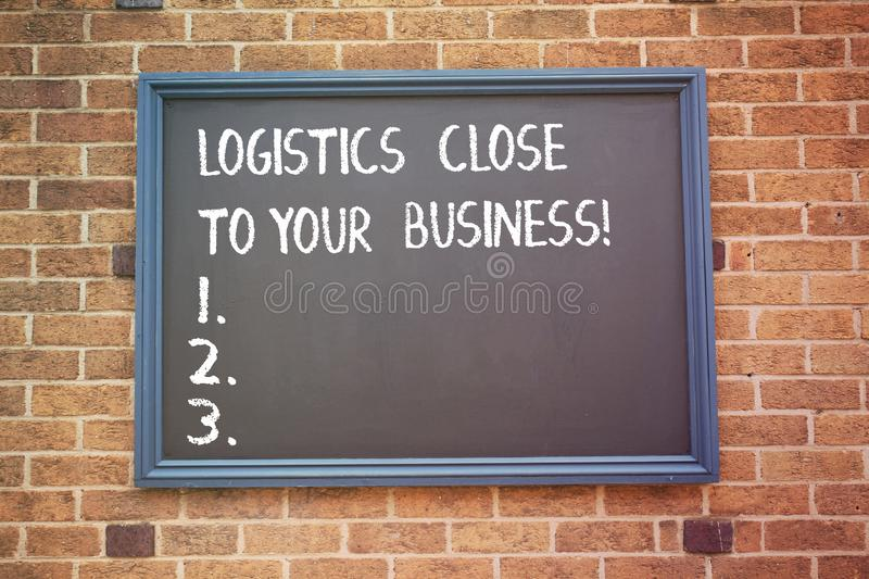Word writing text Logistics Close To Your Business. Business concept for Means of transportation near to company. Word writing text Logistics Close To Your royalty free stock photo