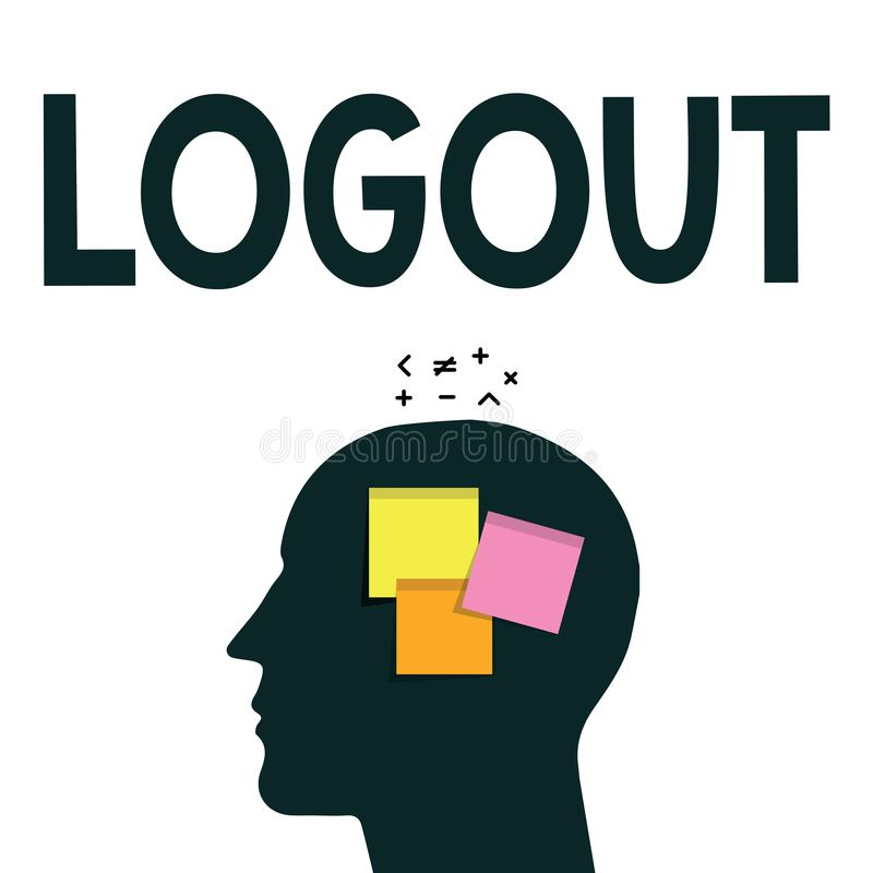 Word writing text Logout. Business concept for go through procedures to conclude use of computer database or system.  vector illustration