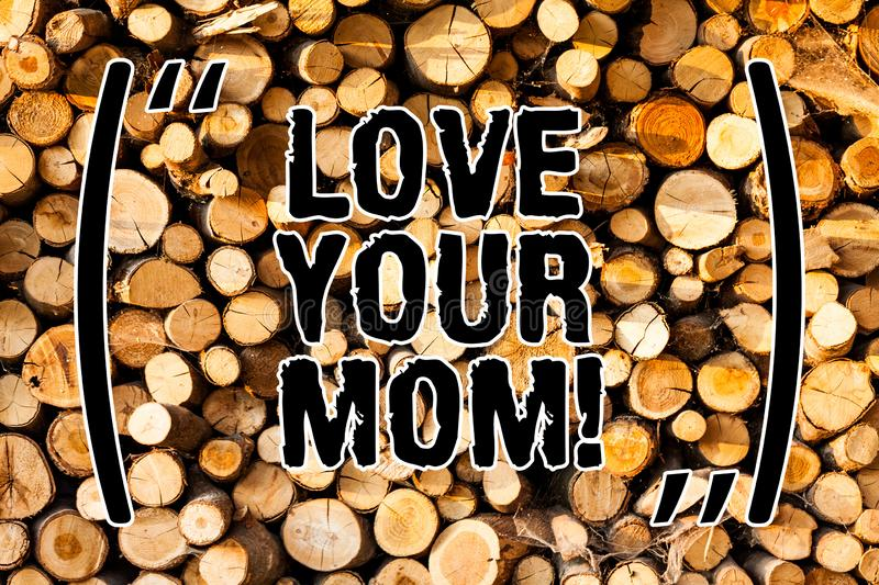 Word writing text Love Your Mom. Business concept for Have good feelings about your mother Loving emotions Wooden. Background vintage wood wild message ideas royalty free stock photography