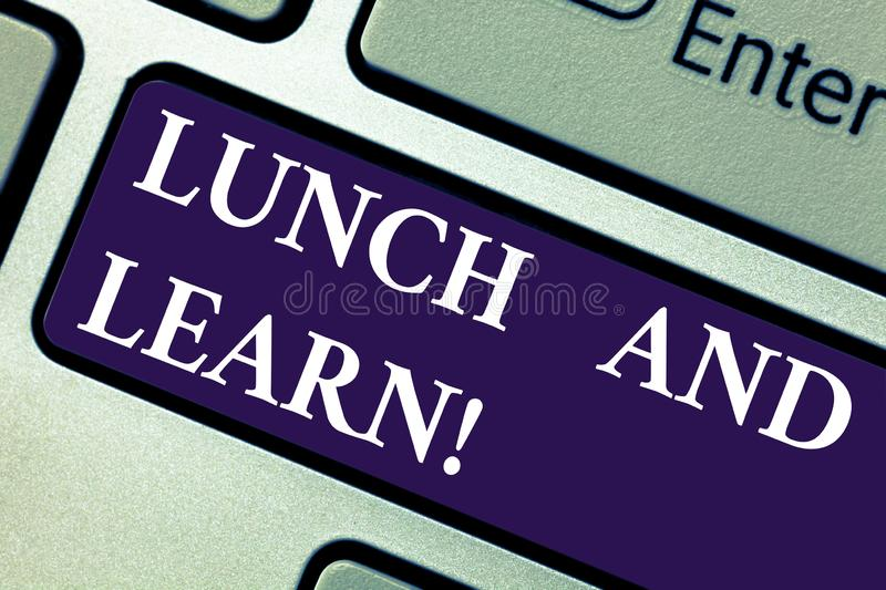 Word writing text Lunch And Learn. Business concept for Have meal and study motivation for education learning eating. Keyboard key Intention to create computer royalty free stock photo