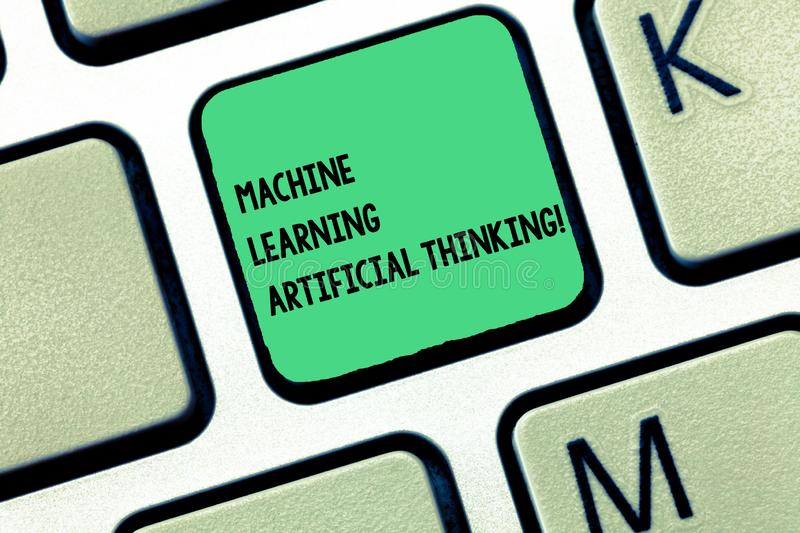 Word writing text Machine Learning Artificial Thinking. Business concept for Elearning online education chat bot Keyboard key. Intention to create computer stock photo
