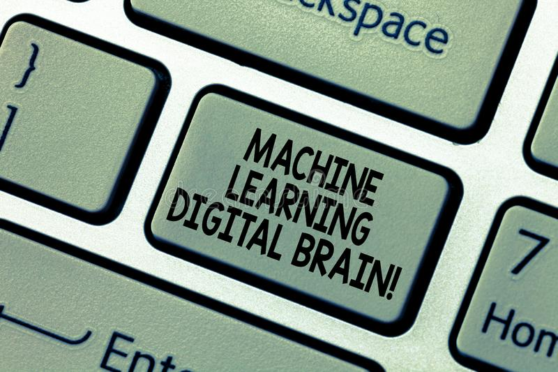 Word writing text Machine Learning Digital Brain. Business concept for Artificial Intelligence Digital education. Keyboard key Intention to create computer stock photo