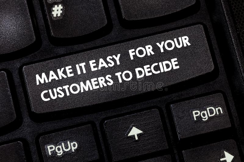 Word writing text Make It Easy For Your Customers To Decide. Business concept for Give clients good special options Keyboard key. Intention to create computer stock images
