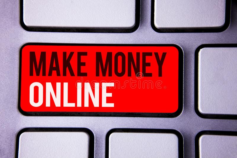 Word writing text Make Money Online. Business concept for Business Ecommerce Ebusiness Innovation Web Technology White Text two wo. Rds red tab key button press royalty free stock images