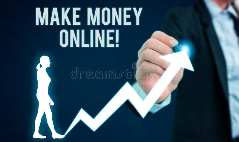 Word writing text Make Money Online. Business concept for making profit using internet freelancing or marketing Female. Word writing text Make Money Online royalty free stock photography