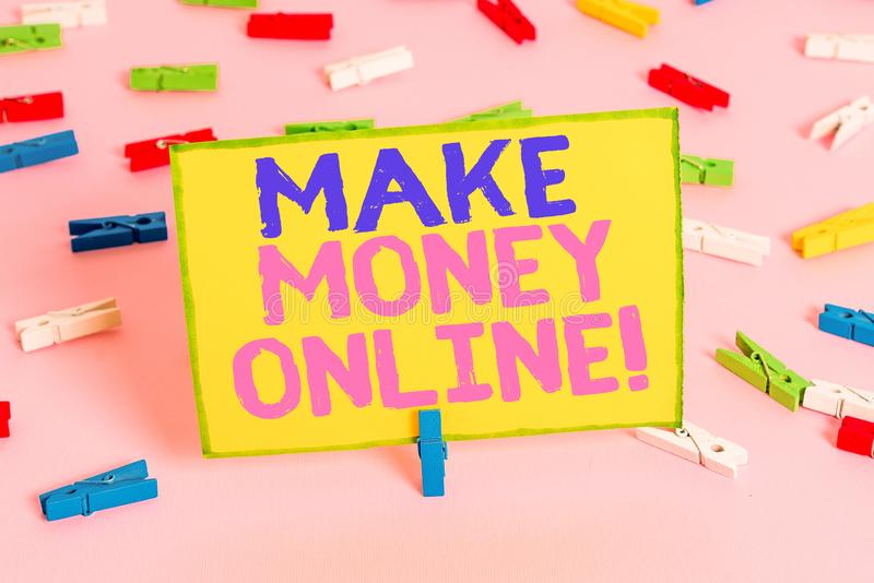 Word writing text Make Money Online. Business concept for making profit using internet like freelancing or marketing Colored. Word writing text Make Money Online royalty free stock image