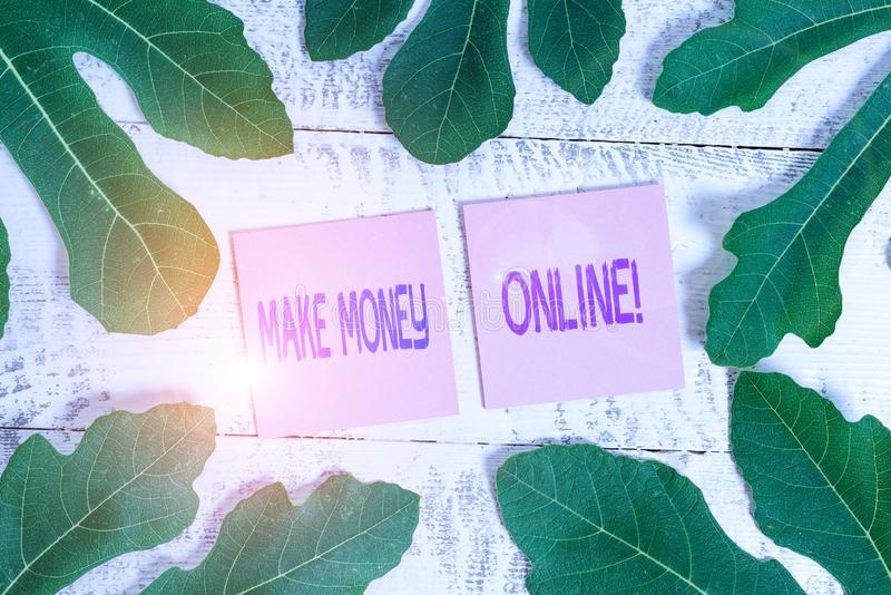 Word writing text Make Money Online. Business concept for making profit using internet like freelancing or marketing Leaves. Word writing text Make Money Online stock photo