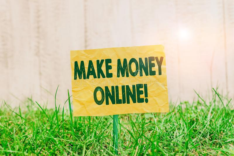 Word writing text Make Money Online. Business concept for making profit using internet like freelancing or marketing Plain empty. Word writing text Make Money royalty free stock images