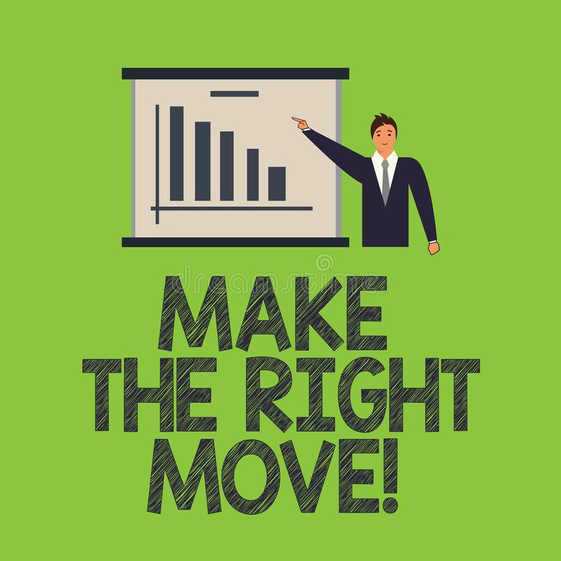 Word writing text Make The Right Move. Business concept for Take correct decisions and actions to obtain success Man in vector illustration
