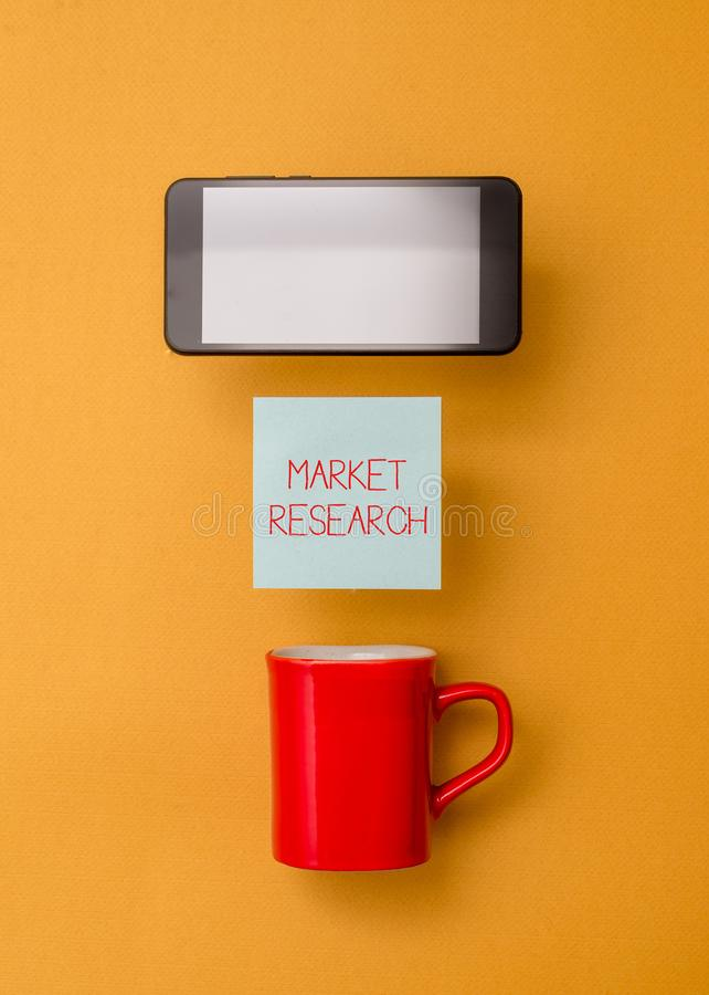 Word writing text Market Research. Business concept for The acttion of gathering information about consumers Coffee cup. Word writing text Market Research stock photo