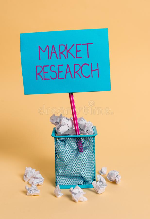 Word writing text Market Research. Business concept for The acttion of gathering information about consumers crumpled. Word writing text Market Research royalty free stock photos